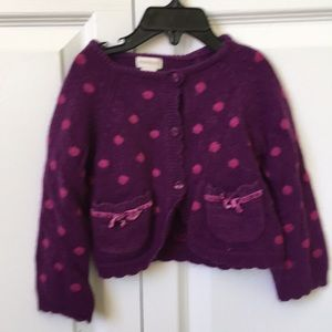 Monsoon purple polka dot cardigan